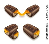 chocolate bar with caramel... | Shutterstock .eps vector #752936728