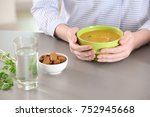 woman holding bowl of homemade... | Shutterstock . vector #752945668