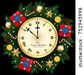 merry christmas  banner with... | Shutterstock .eps vector #752945998
