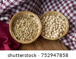 straw bowls full of green... | Shutterstock . vector #752947858