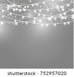 christmas lights isolated on... | Shutterstock .eps vector #752957020