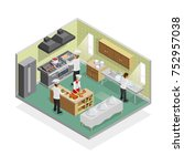 restaurant kitchen isometric... | Shutterstock . vector #752957038