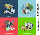 e learning concept isometric... | Shutterstock . vector #752957650