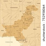 pakistan map   vintage detailed ... | Shutterstock .eps vector #752958064