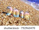 christmas decoration on sea... | Shutterstock . vector #752963470