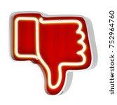 neon red button dislike on a... | Shutterstock . vector #752964760
