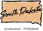hand drawn south dakota state... | Shutterstock .eps vector #752965834
