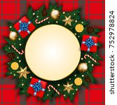 merry christmas  banner with... | Shutterstock .eps vector #752978824