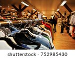used clothes on hangers in a...   Shutterstock . vector #752985430