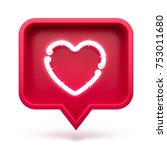 like heart icon on a red pin... | Shutterstock . vector #753011680
