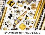 flat lay christmas or party... | Shutterstock . vector #753015379