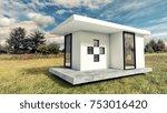 modern white tiny house... | Shutterstock . vector #753016420