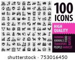100 farm icons  | Shutterstock .eps vector #753016450