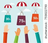 bags shopping with parachute... | Shutterstock .eps vector #753022750