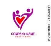 couple love heart happy logo | Shutterstock .eps vector #753023554