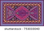 colorful oriental mosaic kilim... | Shutterstock .eps vector #753033040