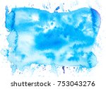 blue watercolor brush stains... | Shutterstock . vector #753043276