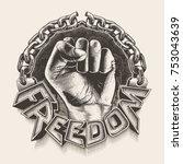 hand breaking chains  freedom... | Shutterstock .eps vector #753043639