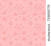cute seamless pattern with pink ... | Shutterstock .eps vector #753050770
