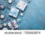 christmas greeting card. gift... | Shutterstock . vector #753063874