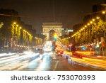 champ elysees traffic and light ... | Shutterstock . vector #753070393