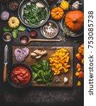 vegetarian pumpkin dish cooking ... | Shutterstock . vector #753085738