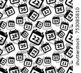 a lot of simple black calendar... | Shutterstock .eps vector #753085810