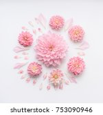 Stock photo round pink pale flowers composition with petals on white desktop background flat lay top view 753090946