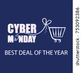 cyber monday. mouse for pc and... | Shutterstock .eps vector #753092386