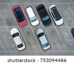 empty parking lots  aerial view. | Shutterstock . vector #753094486