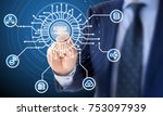 Stock photo it expert in a blue suit clicks on a circuit diagram with the words edge computing surrounded by 753097939