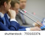 man speaking at the conference... | Shutterstock . vector #753102376