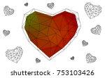 dark green  red vector heart... | Shutterstock .eps vector #753103426