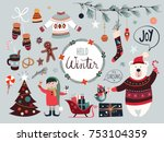 christmas elements collection... | Shutterstock .eps vector #753104359