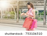 young business woman in trendy... | Shutterstock . vector #753106510