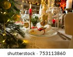 beautiful served table with... | Shutterstock . vector #753113860