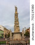 Small photo of KOSICE - October 20, 2016. Main street in city center with Plague Column in the evening in Kosice, Slovakia