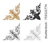 classical baroque vector set of ... | Shutterstock .eps vector #753121774