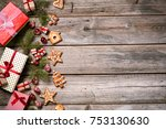 merry christmas. decoration for ... | Shutterstock . vector #753130630