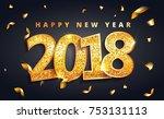 vector 2018 new year black... | Shutterstock .eps vector #753131113