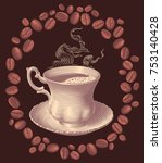 a cup of coffee and coffee... | Shutterstock .eps vector #753140428