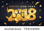 vector stock 2018 new year... | Shutterstock .eps vector #753143404