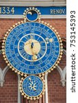 detail of astronomical clock on ... | Shutterstock . vector #753145393
