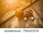 basketball court with ball and... | Shutterstock . vector #753147274