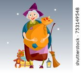 befana. old woman with  bag of... | Shutterstock .eps vector #753149548