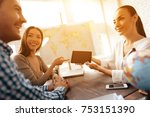 a young man and a woman came to ... | Shutterstock . vector #753151390