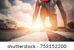 athlete man in running pose on... | Shutterstock . vector #753152200