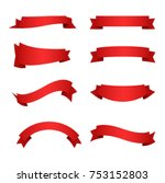 red ribbons collection | Shutterstock .eps vector #753152803