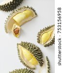 fresh cut durian on a white... | Shutterstock . vector #753156958