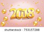 happy new year 2018 elegant...   Shutterstock .eps vector #753157288